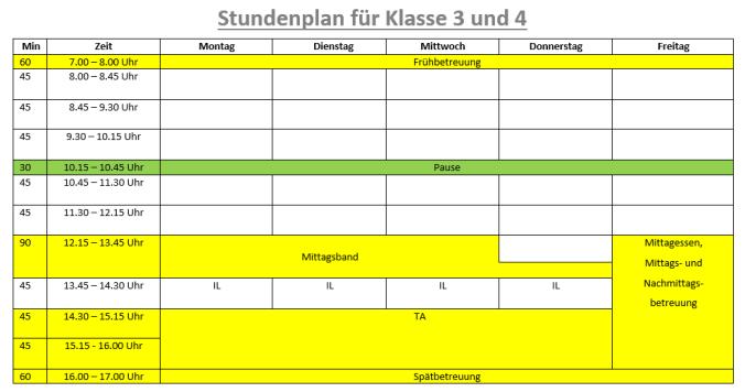 Stundenplan 2 und 4