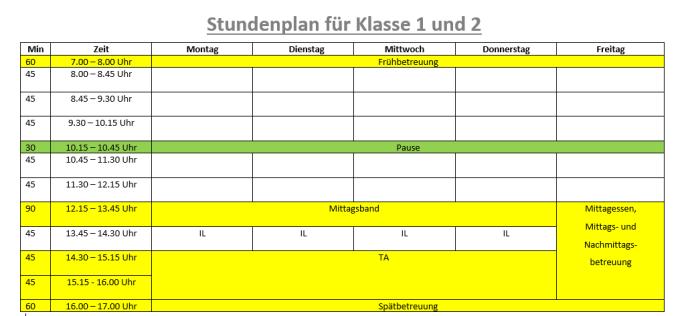 Stundenplanklasse 1 und 2